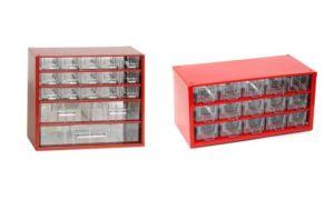 Set skříňek na drobné součástky do dílny Mars, 6760C + 6740C – červená
