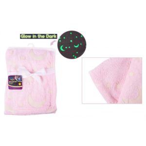 FS757 First Steps růžová deka svítící ve tmě, 70×90 cm