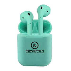 Powerton bezdrátová bluetooth sluchátka WPBTE01, s nabíjecí krabičkou, mikrofon, přepínání skladeb, zelená, 2.0, Airpods style, sp