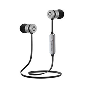Powerton bezdrátová bluetooth sluchátka W2, s magnetickým uchycením, mikrofon, ovládání hlasitosti, černo-stříbrná, sportovní typ