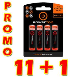 Baterie alkalická, AAA, 1.5V, Powerton, box, 12×4-pack, PROMO výhodné balení