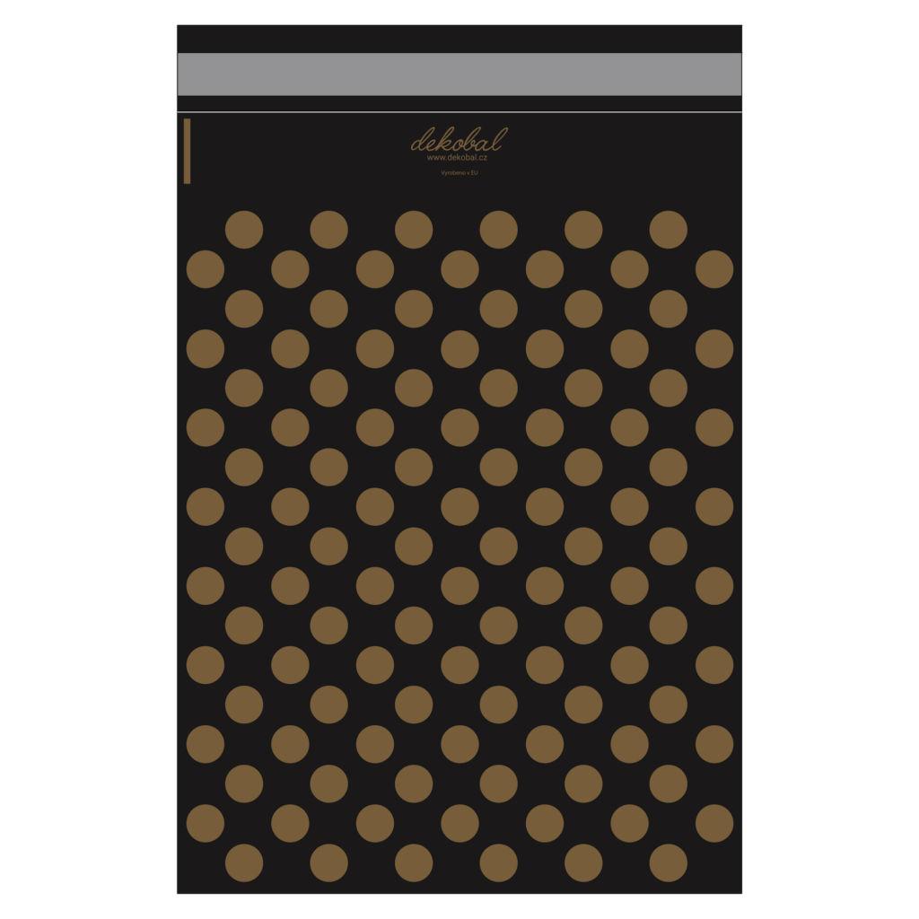 Černé plastové obálky se zlatými puntíky
