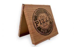 Krabice na pizzu 320x320x30mm hnědá, potisk víka – 2000ks