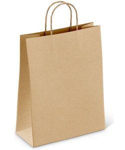 Papírová taška kroucené uši 32x12x40cm hnědá/ bílá 300ks