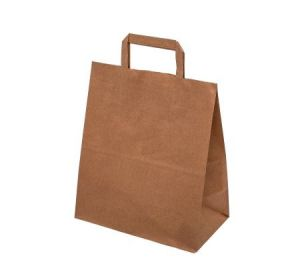 Papírová taška ploché uši 34x18x35cm hnědá/ bílá 500ks