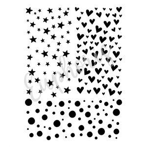 Plastová šablona Kolečka, hvězdičky, srdíčka 15 x 20 cm