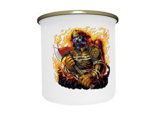 Smaltovaný hrneček plecháček hasič 330 ml